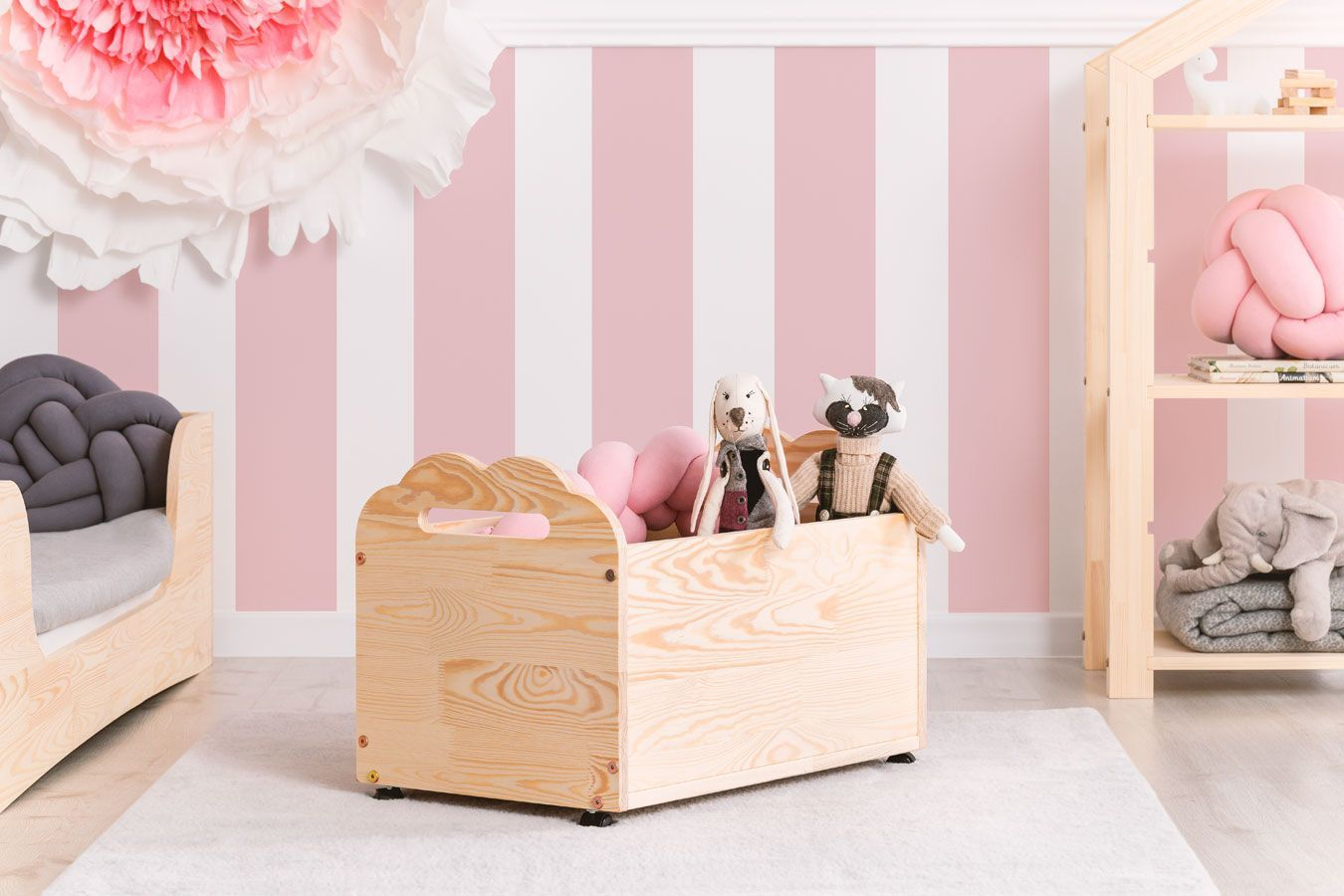 Drewniana skrzynia na zabawki Zozo 5S