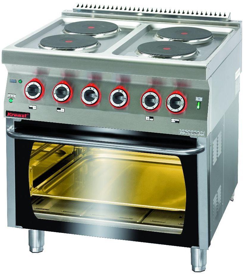Kuchnia gastronomiczna elektryczna 4-płytowa z piekarnikiem el. KROMET 700.KE-4/PE-2