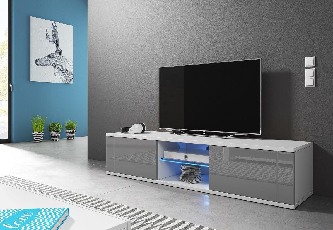 Szafka RTV KLIO biały mat-szary połysk LED
