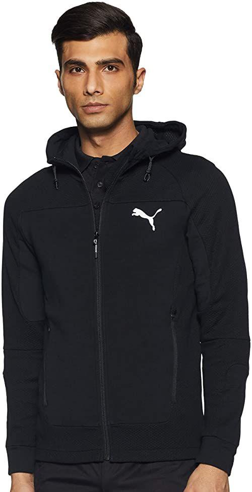 PUMA męska kurtka z kapturem EVOSTRIPE z kapturem, biała, średnia Puma Czarny L
