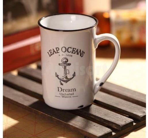 Porcelanowy kubek w stylu retro- Ocean
