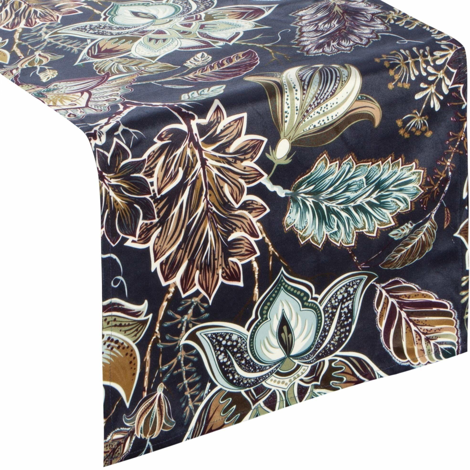 Eurofirany obrus na stół, aksamitny wzór kwiatowy, kwiaty, liście wzór liści, dekoracja stołu, bieżnik na stół, aksamitny elegancki elegancki 1 sztuka, granatowy, 33 x 140 cm