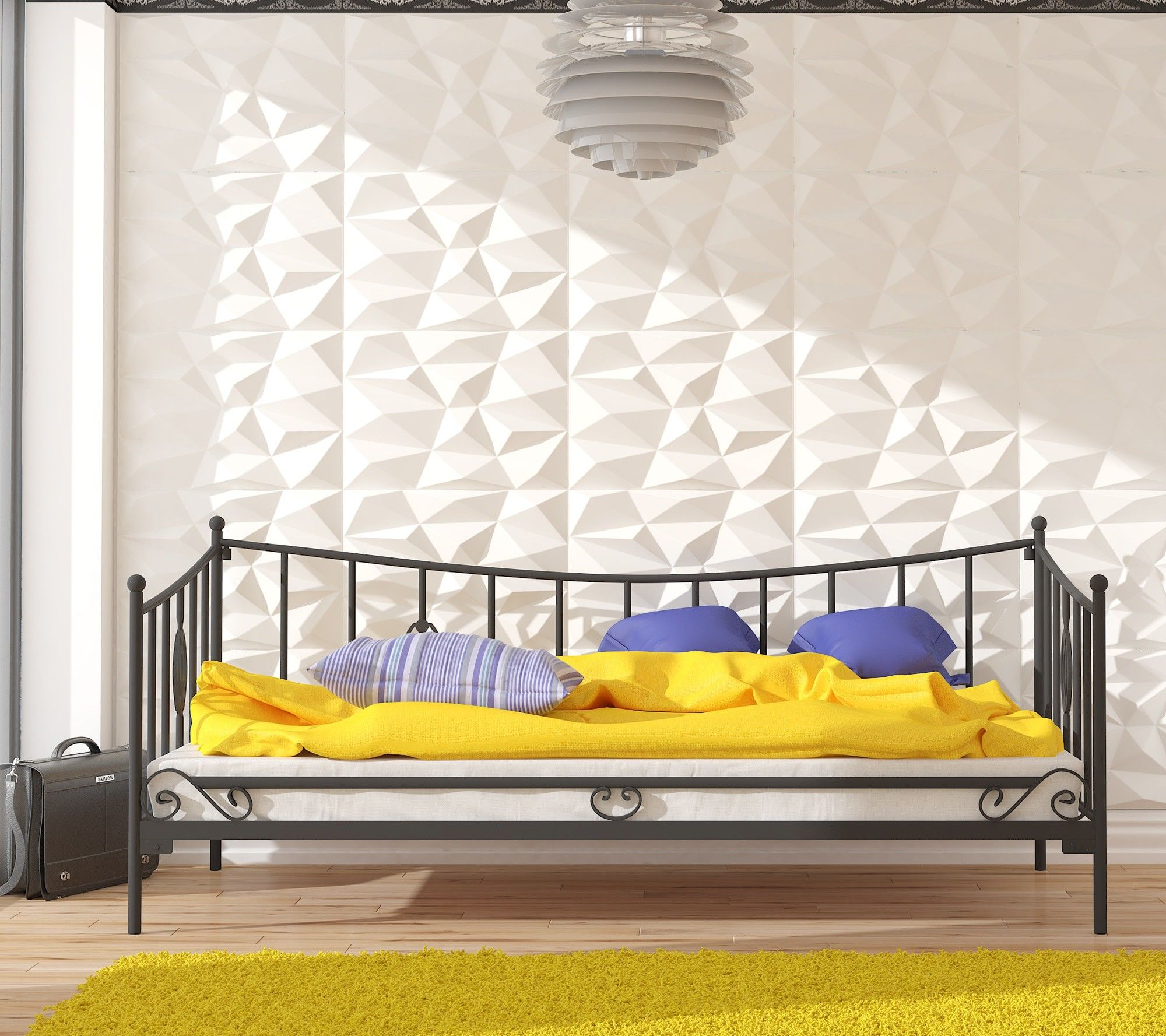 Łóżko metalowe sofa 90x180 wzór 31 ze stelażem