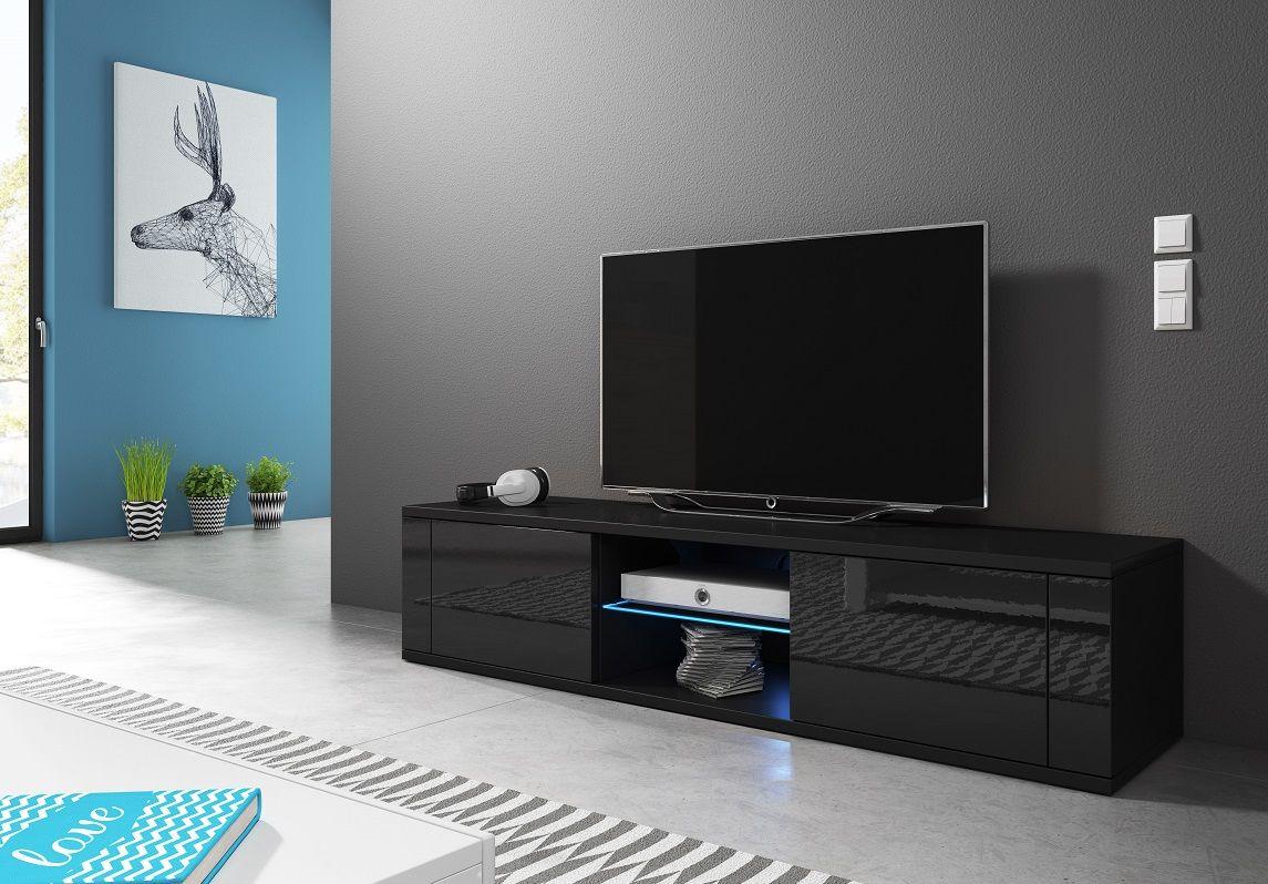 Szafka RTV KLIO czarny mat-czarny połysk LED