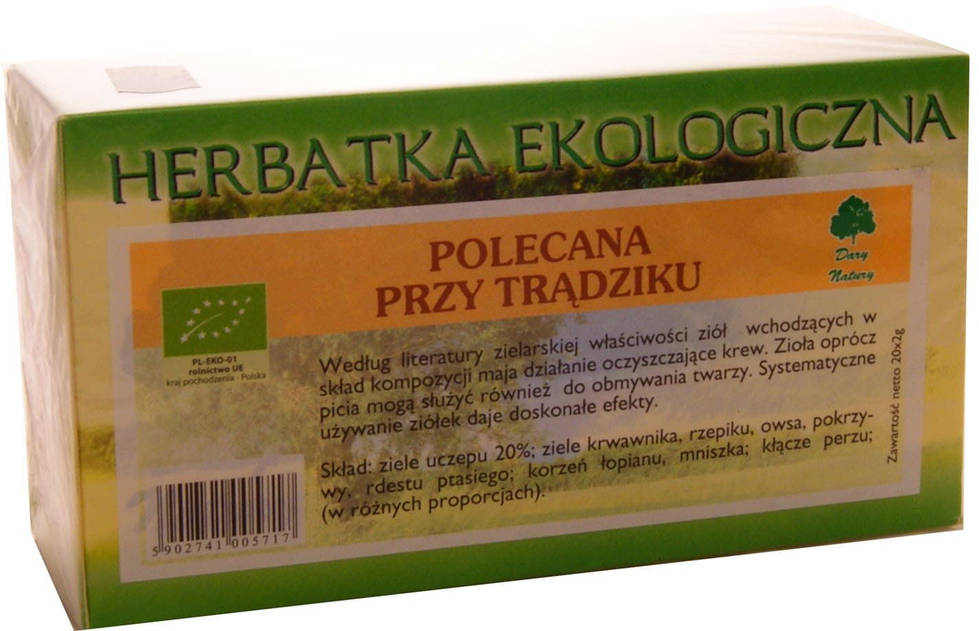 Herbatka ekologiczna trądzik BIO - Dary Natury - 25sasz