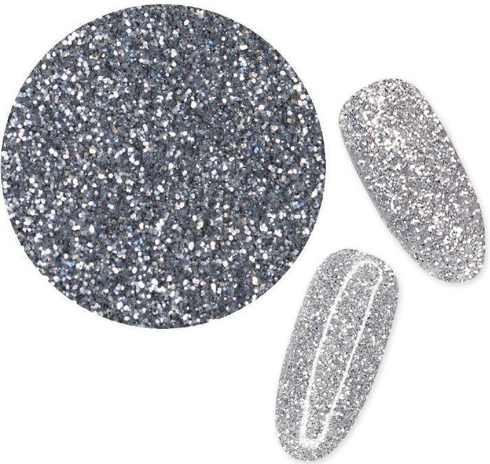 Pyłek do paznokci SREBRNY efekt szronu brokat pixel