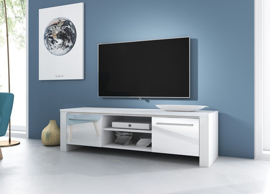 Szafka RTV SWEN biały mat-biały połysk