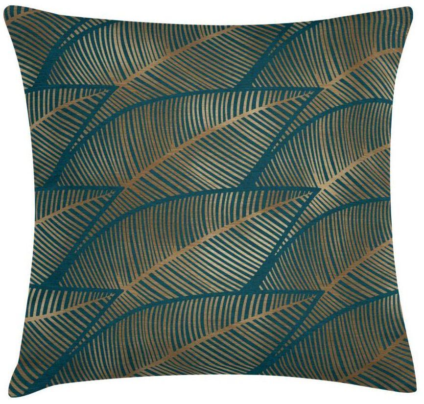 Poduszka w liście Lau zielono-złota 45 x 45 cm