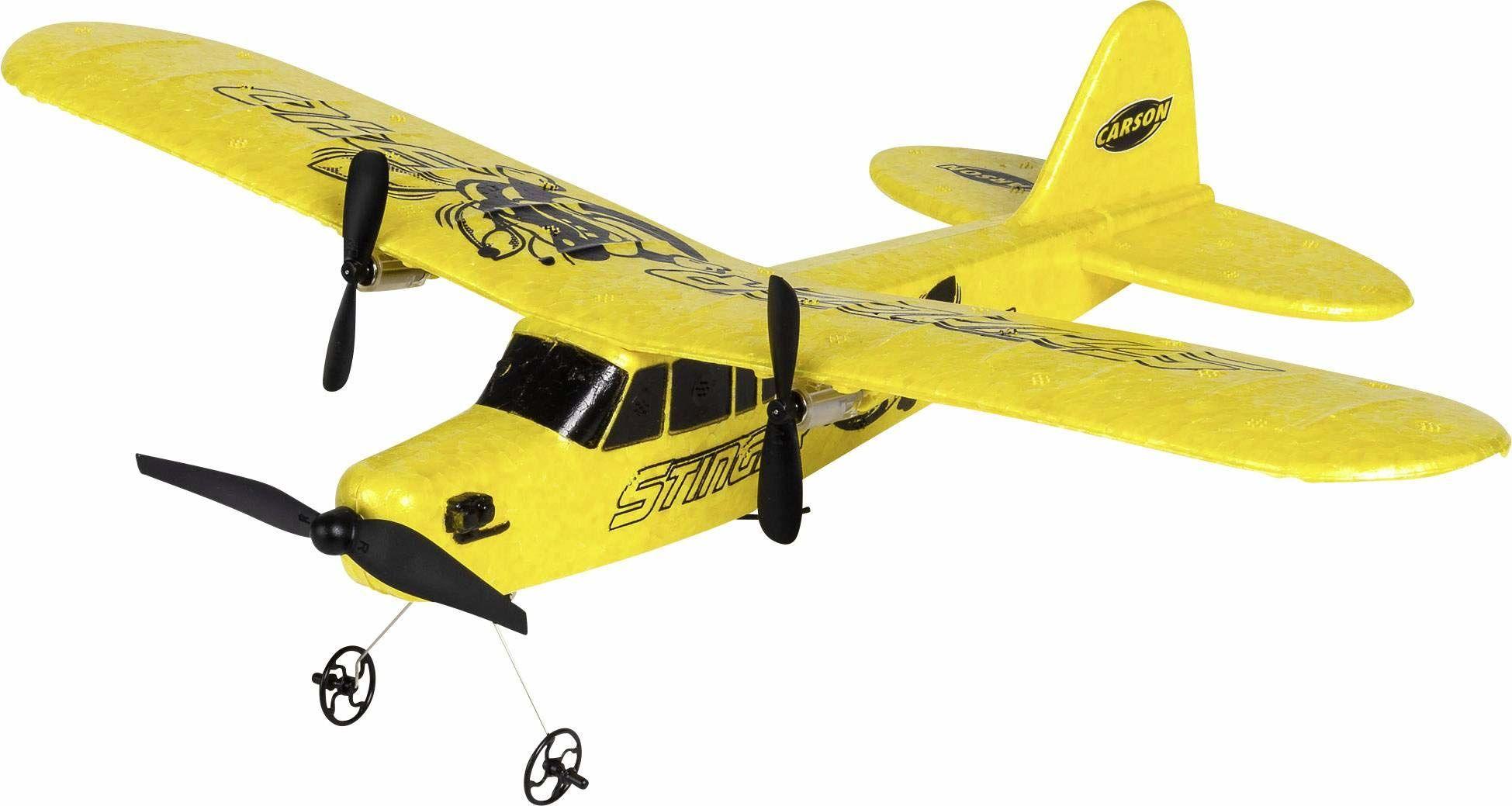 Carson 500505029 500505029-Stinger 340 2.4G RTF, zdalnie sterowane modele lotu, model, samolot RC wraz z bateriami i pilotem, 100% gotowość do lotu, żółty