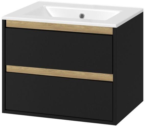 Excellent Tuto szafka wisząca z umywalką czarny mat/dąb 60x50x45 MLEX.0103.600.BKBL/CEEX.3617.600.WH