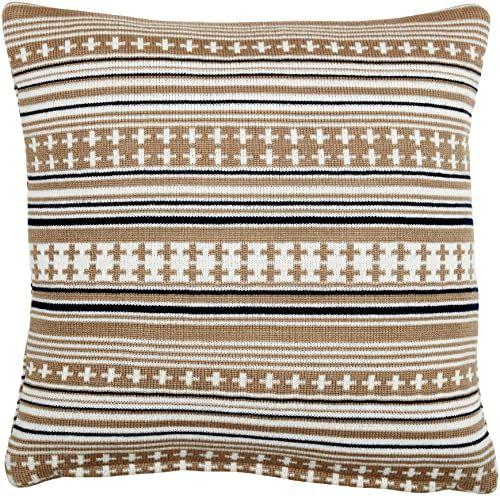 Pignut Somerset gwiazda niebieska dzianinowa poduszka w paski, syntetyczna 45 x 45 x 13 cm