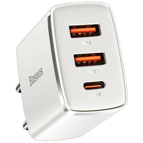Ładowarka sieciowa Baseus Compact 2x USB-A, USB-C QC 3.0 PD 30W, biała