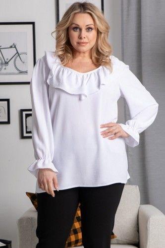 Bluzka elegancka z ozdobną falbanką LENA ecru