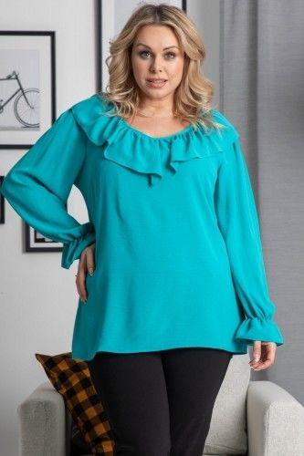 Bluzka z ozdobną falbanką elegancka LENA turkusowa