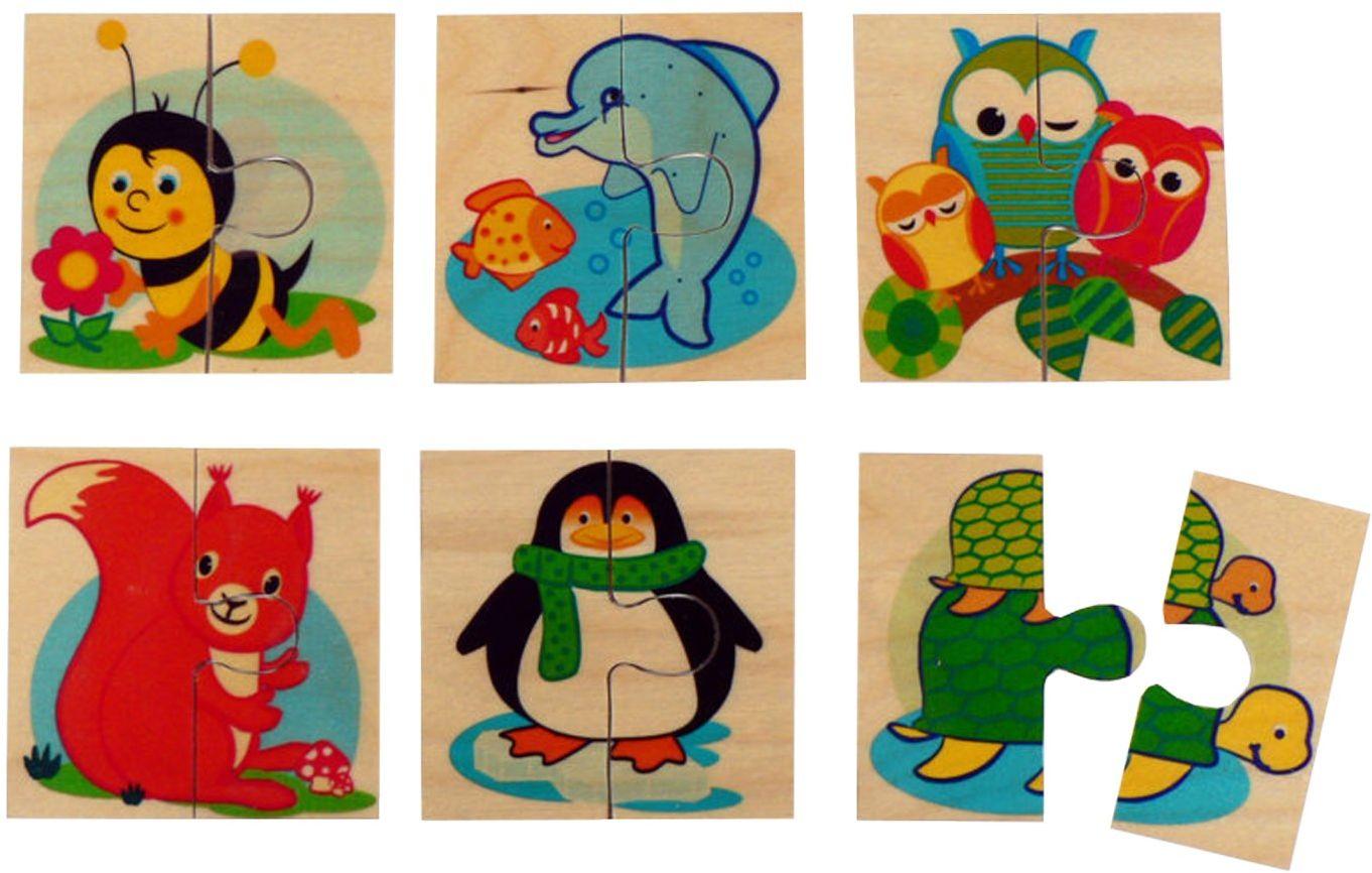 Hess drewniana zabawka 14920 - puzzle z 6 obrazkami z drewna zwierzęta, 16 x 23 x 20 cm