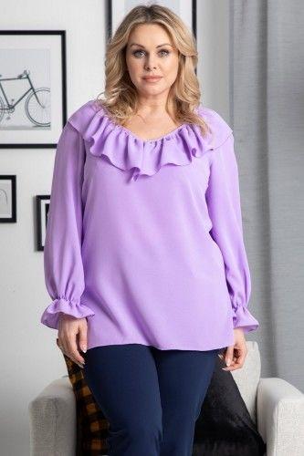 Bluzka wyjsciowa z ozdobną falbanką LENA fioletowa