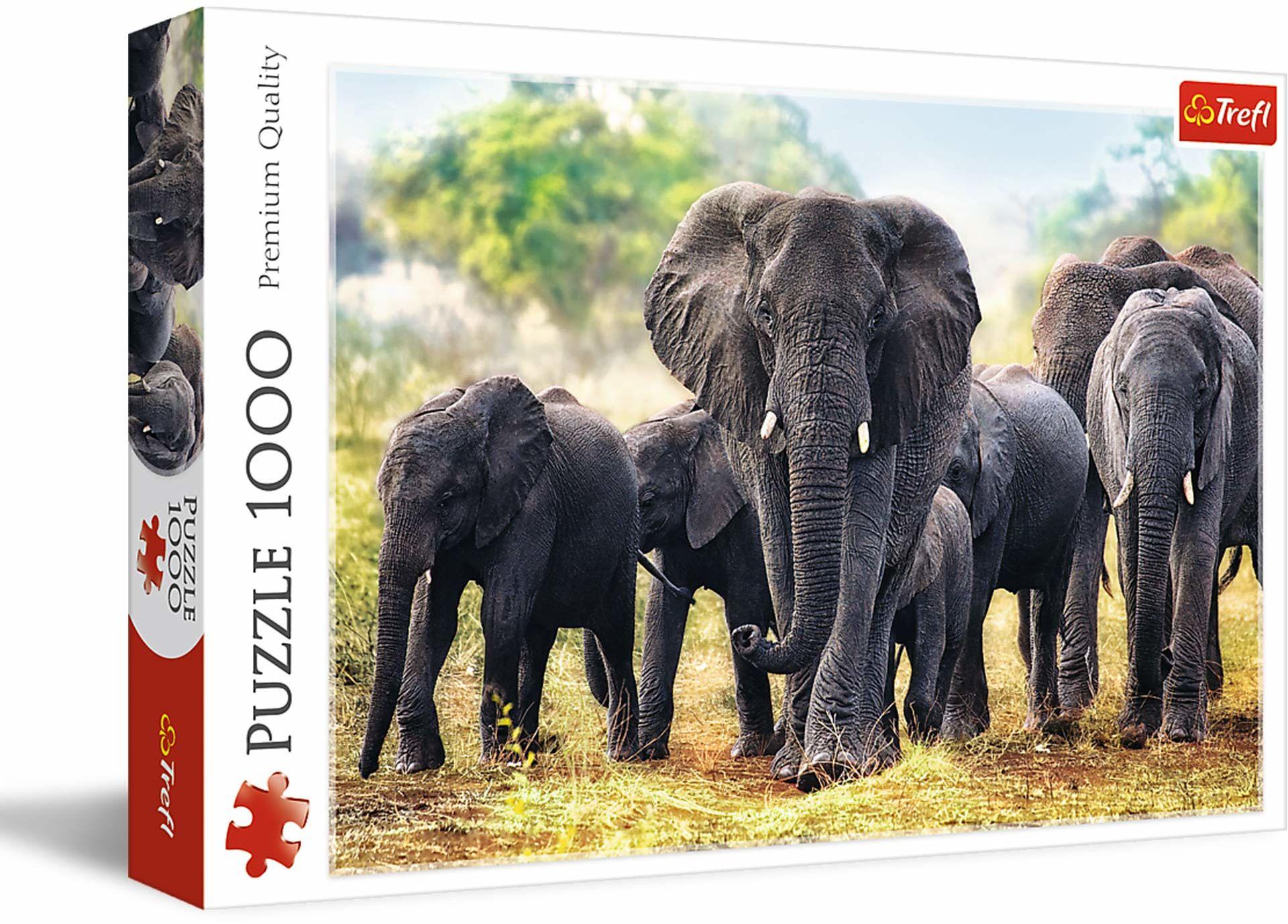Trefl - Puzzle Afrykańskie Słonie - 1000 Elementów, Obraz ze Słoniami, Sawanna, Afryka, Rodzina Słoni, Układanka DIY, Kreatywna Rozrywka, Prezent, Puzzle Klasyczne dla Dorosłych i Dzieci od 12 Lat