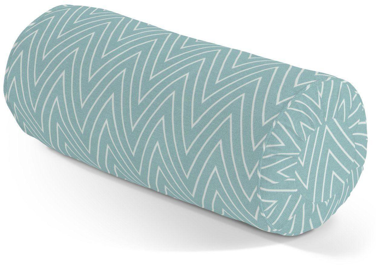 Poduszka wałek z zakładkami, białe zygzaki na miętowym tle, Ø20  50 cm, Comics