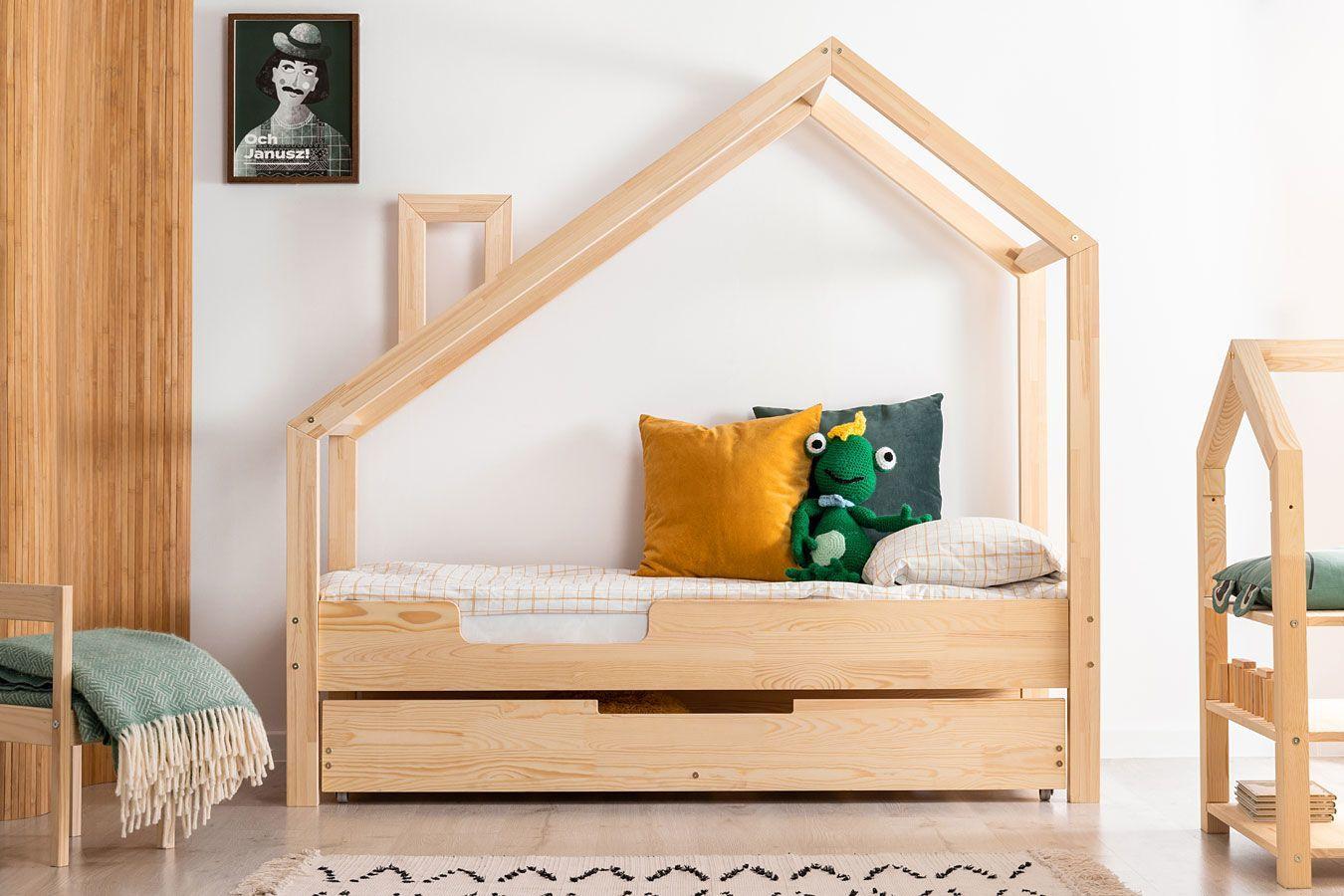 Drewniane łóżko dziecięce domek z szufladą Lumo 9X