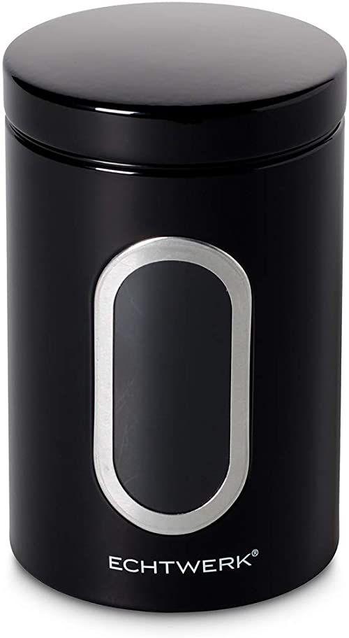 Echtwerk Stylowe pojemniki na zapasy Single czarne, do przechowywania mąki/cukru/musli/herbaty, metalowa puszka z hermetyczną pokrywką i dużym okienkiem, pojemność 1,4 l