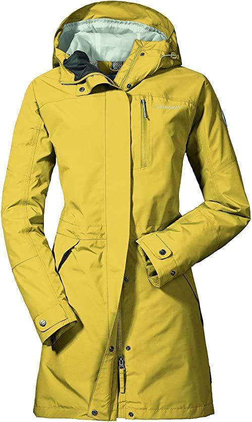 Schöffel Parka Malmö1, wodoszczelna kurtka przeciwdeszczowa dla kobiet z praktycznymi kieszeniami, modna i lekka kurtka damska na wiosnę i lato Samoan Sun 44