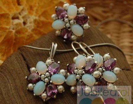 Pawie oko - srebrny komplet perły ametysty opale