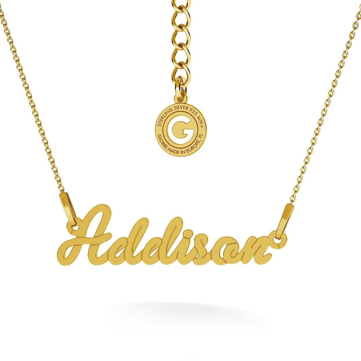 Srebrny naszyjnik celebrytka z imieniem, srebro 925 : Srebro - kolor pokrycia - Pokrycie żółtym 18K złotem