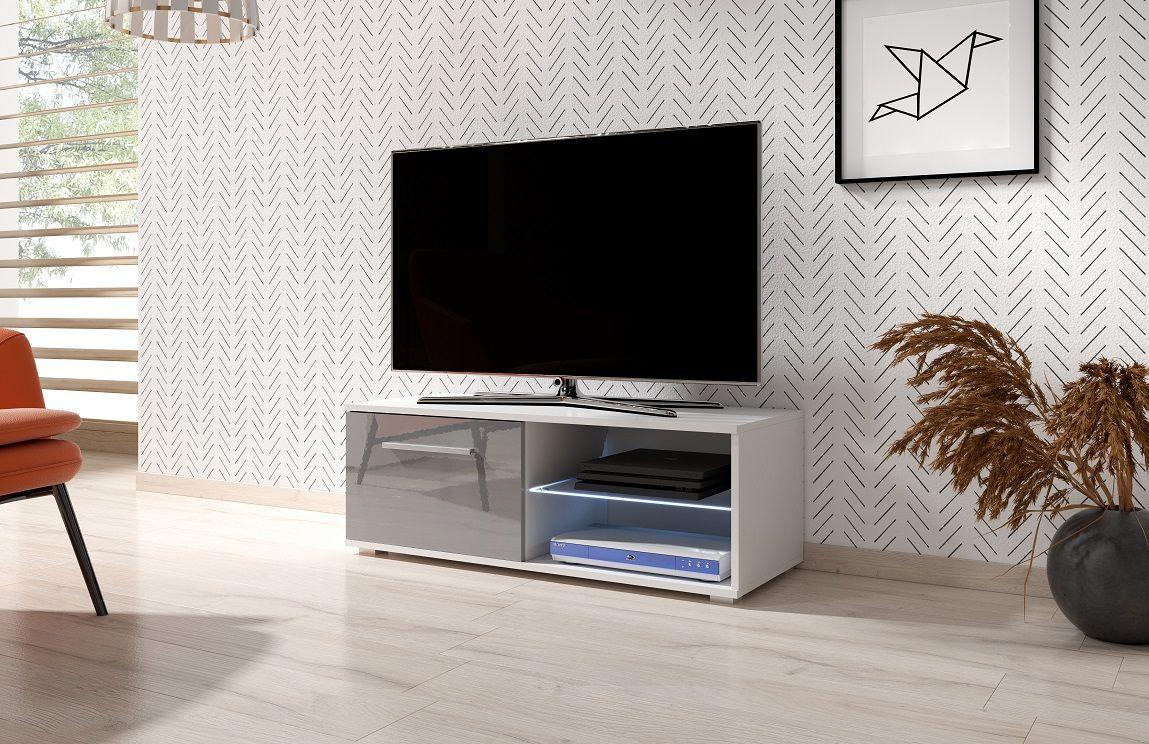 Szafka RTV LACJUM 2 100 biały-szary połysk LED