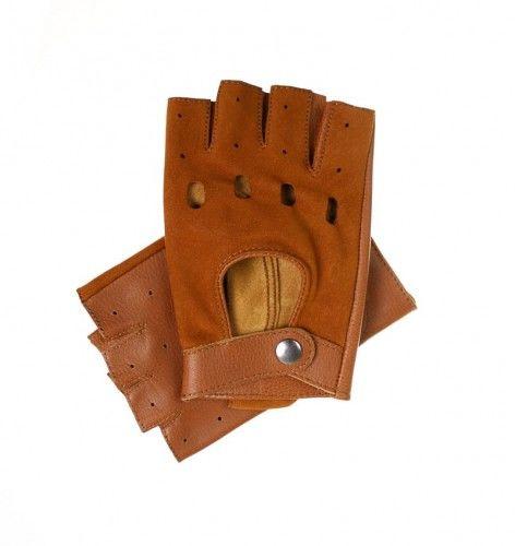 Skórzane rękawiczki bez palców - jasno brązowe
