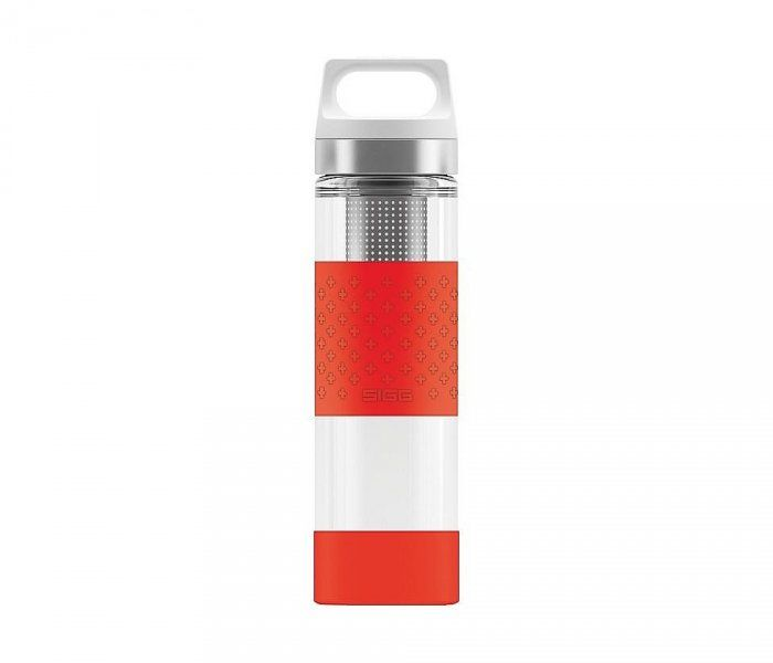 Termos szklany SIGG WMB z zaparzaczem HOT & COLD Glass 400 ml (Czerwony)