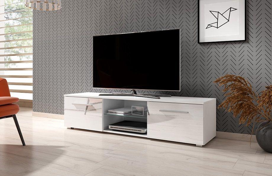 Szafka RTV LACJUM 140 biały-biały wysoki połysk