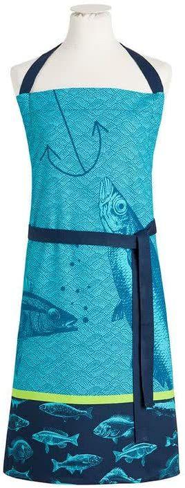 Coucke Fartuch ryby, bawełna, niebieski, 85 x 76 cm