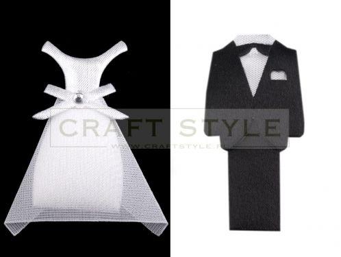 Dekoracja ślubna tekstylna PARA MŁODA 8,5cm