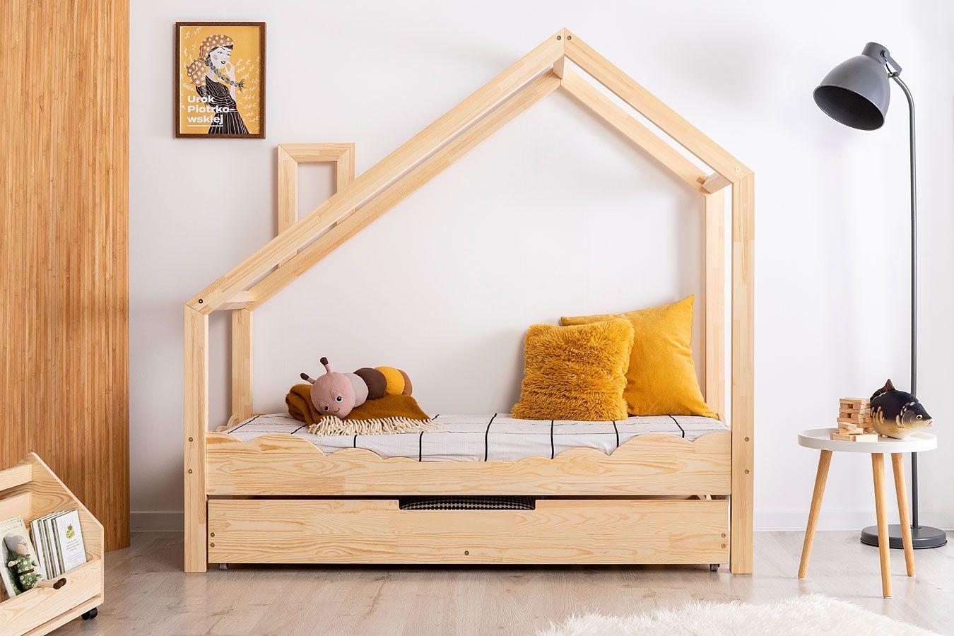Drewniane łóżko dziecięce domek z szufladą Lumo 10X