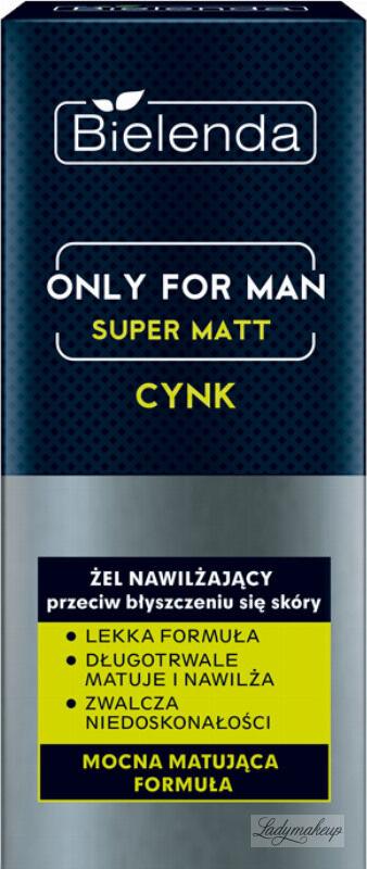 Bielenda - Only for Man - Super Matt - Zinc - Nawilżający żel do twarzy przeciw błyszczeniu się skóry dla mężczyzn - 50 ml