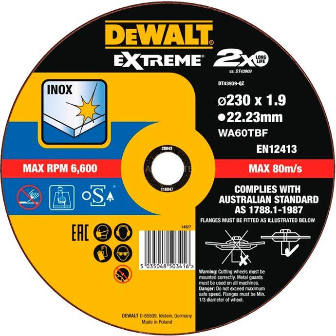 TARCZA DO METALU 230X1.9MM DEWALT DT43939 INOX