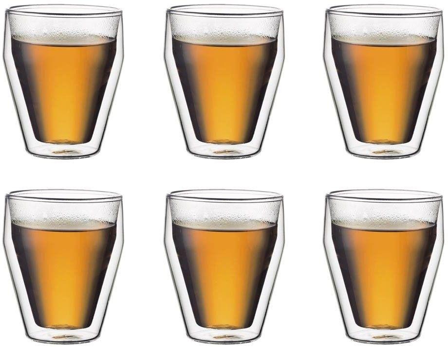 Bodum Titlis 250 Ml 6 Szt. - Szklanki Do Kawy I Herbaty Termiczne Z Podwójnymi Ściankami Szklane