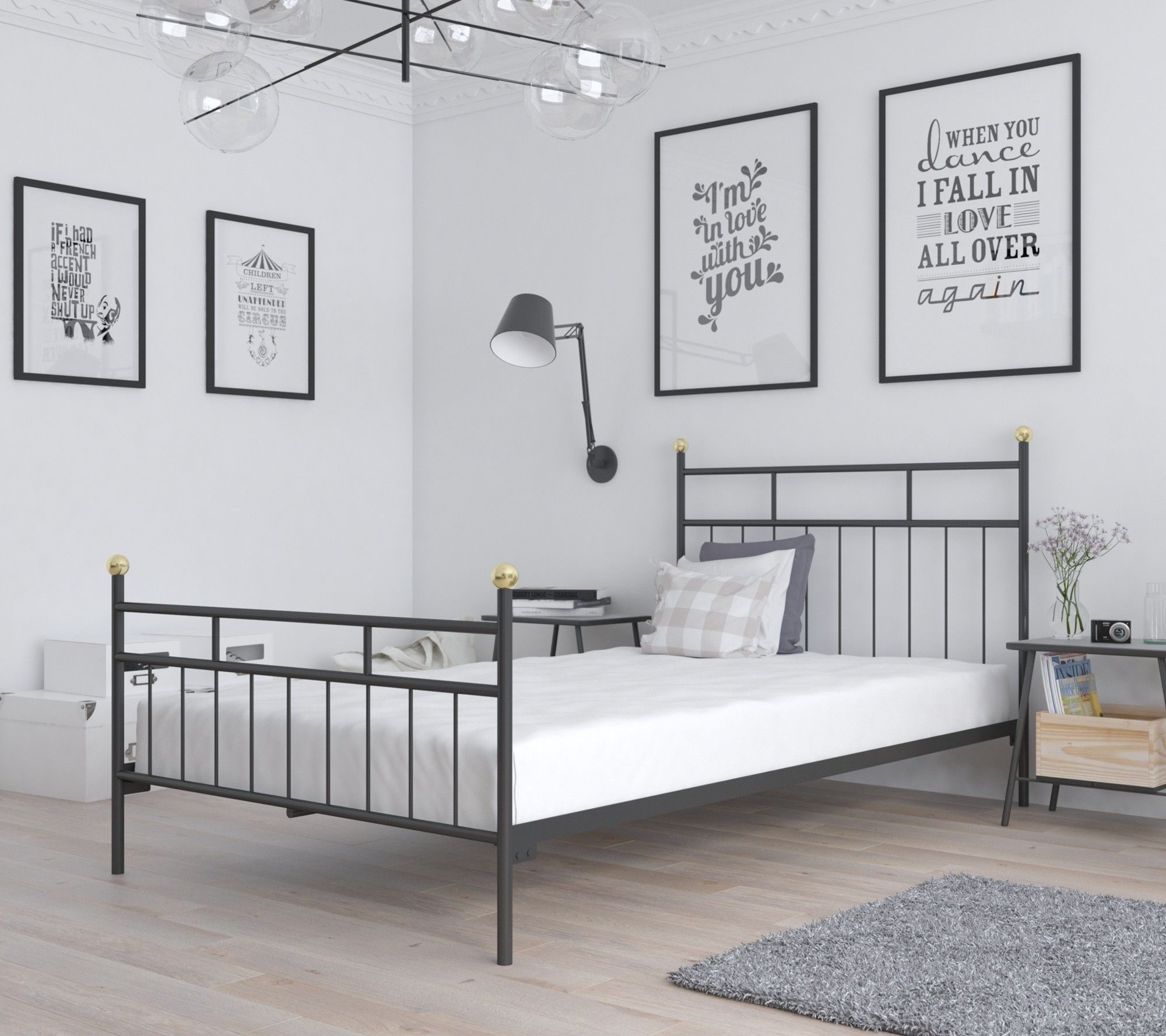 Łóżko metalowe sypialniane 80x180 wzór 27 ze stelażem