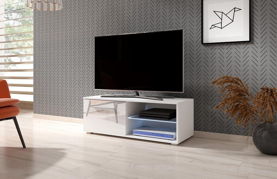 Szafka RTV LACJUM 2 100 biały-biały połysk LED
