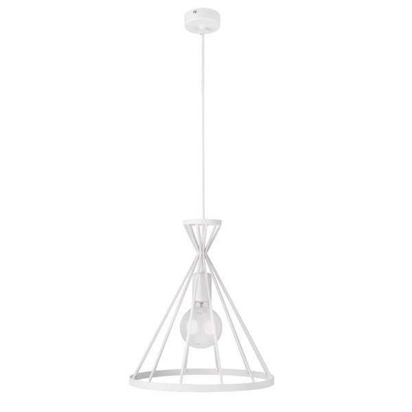 Lampa wisząca NOWUM biała druciany stożek 31cm
