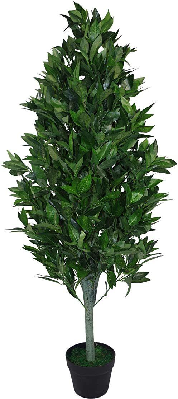 Leaf Wzór UK 120 cm (4 stóp) sztuczna piramida drzewo Topiary bardzo duża czarna plastikowa doniczka, zielony stożek