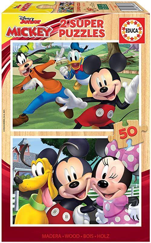 Educa Infantiles Madera de piezas. +4 años. Ref. 18880 Disney Mickey and Friends. 2 puzzle dla dzieci z 50 elementami z drewna