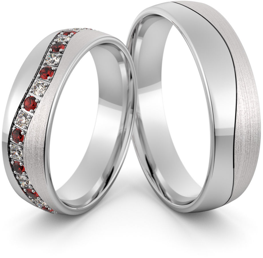Obrączki srebrne z rubinami i cyrkoniami swarovski - wzór Ag-438