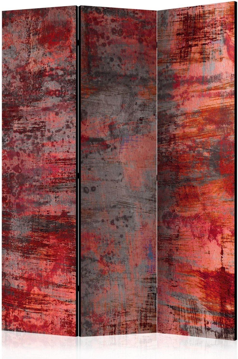 Parawan 3-częściowy - czerwony metal [room dividers]