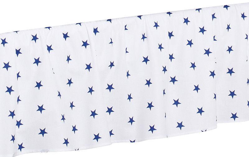 MAMO-TATO Falbanka do łóżeczka 70x140 Gwiazdki granatowe na bieli