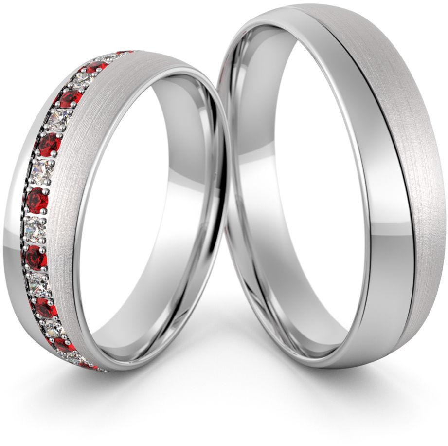 Obrączki srebrne z rubinami i cyrkoniami swarovski - wzór Ag-439