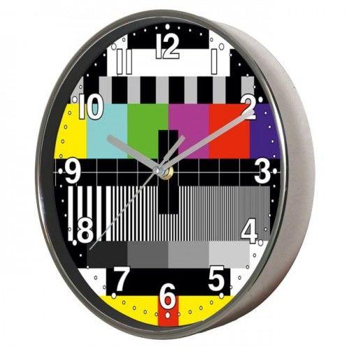 Zegar ścienny chromowany sygnał kontrolny TV