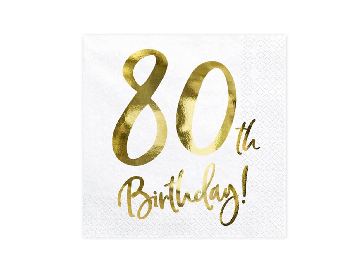 Serwetki urodzinowe na osiemdziesiąte urodziny - 80tka - 33 - 20 szt.