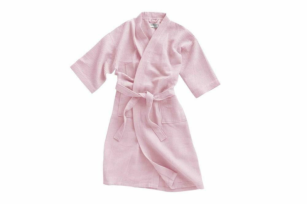 Szlafrok gofrowany pudrowy L/XL bawełniany Kimono Gofer