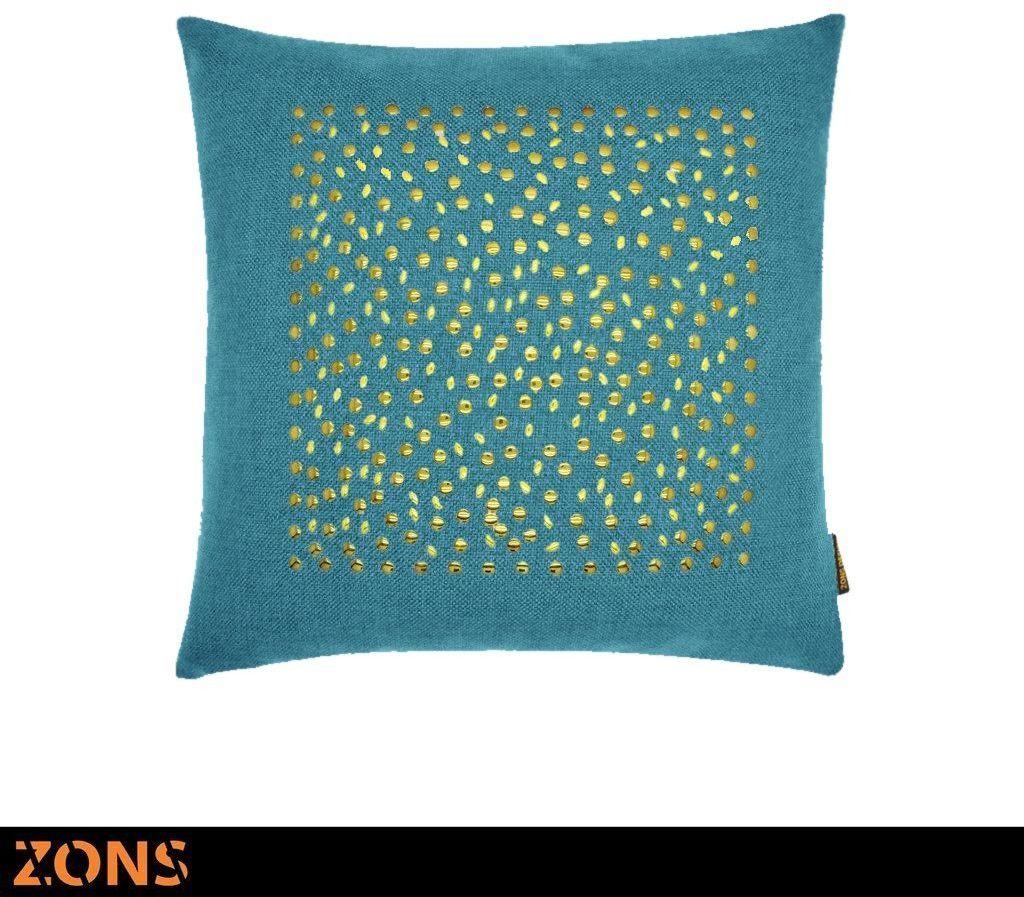Poduszka z nitami motyw kwadratowa złota 45 x 45 cm + wypełnienie 480 g poduszka auto sofa poduszka (niebieska)